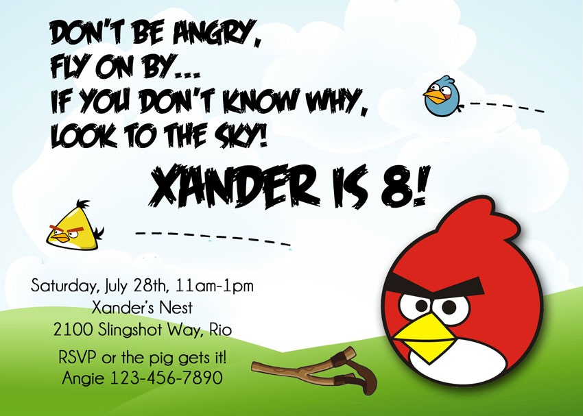 birthday invitation with Angry red bird