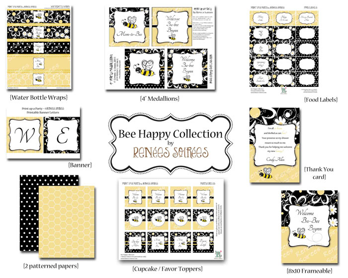 bumble bee printables from Renees Soirees