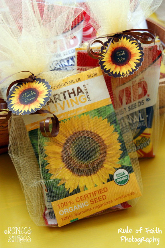 Martha Stewart sunflower seed packet in tulle