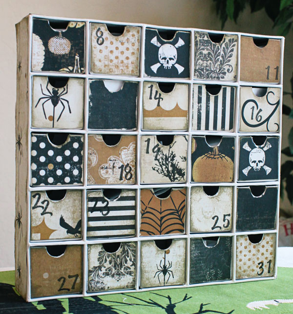 paper box with 25 small drawers, covered in Halloween paper