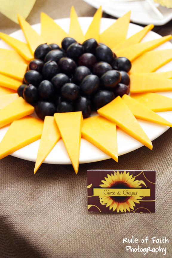 Sunflower cheese and grape plate