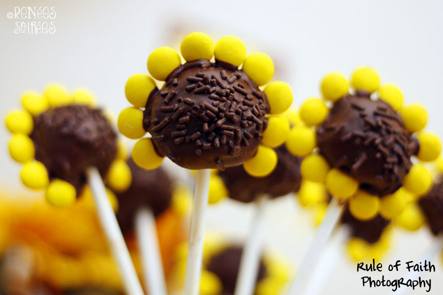 close-up of brownie pop fashioned to look like a sunflower