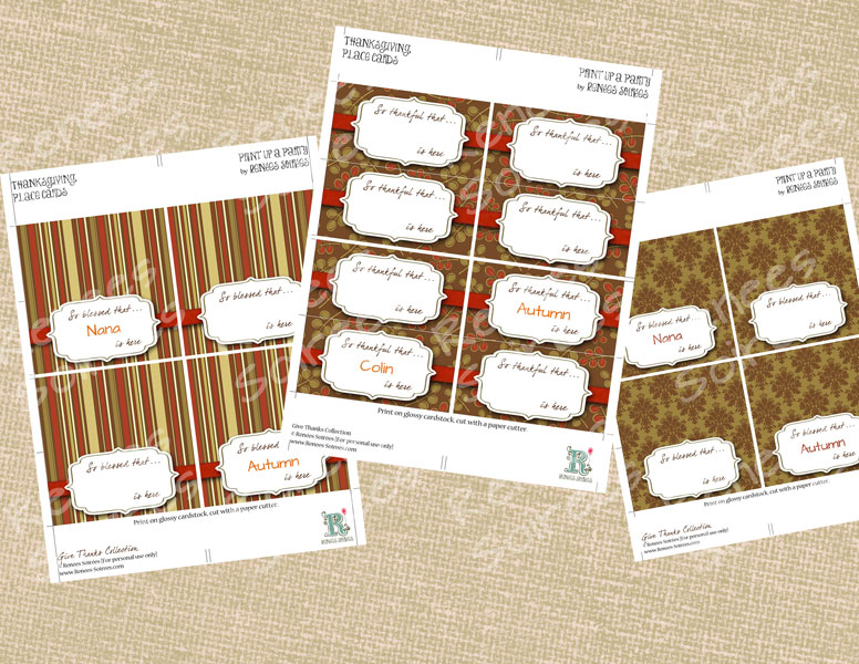 3 sets of Thanksgiving placecards