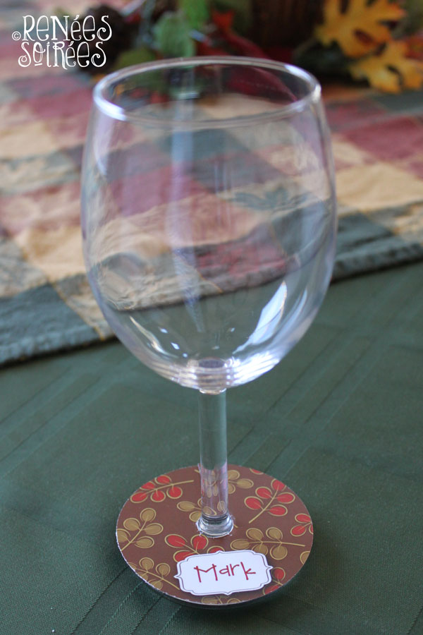 wine glass with custom tag attached