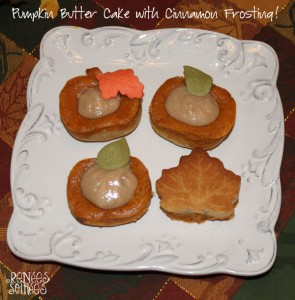4 pumpkin-shaped cupcakes with cinnamon topping & Wilton colorful icing leaves