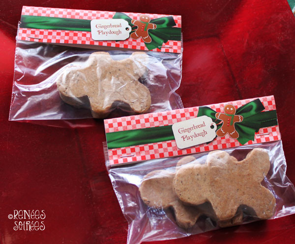 2 ziplock bags with paper toppers that say Gingerbread Playdough