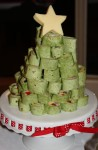 Tortilla roll-ups in the shape of a Christmas tree