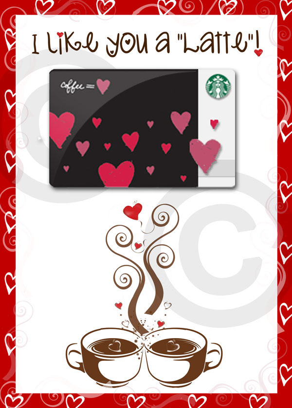 5x7 print with hearts and coffee cups and room for a starbucks card