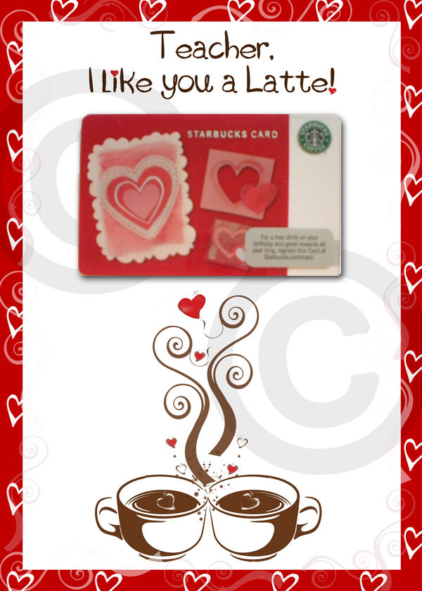 5x7 print with coffee cups and hearts with room for a gift card