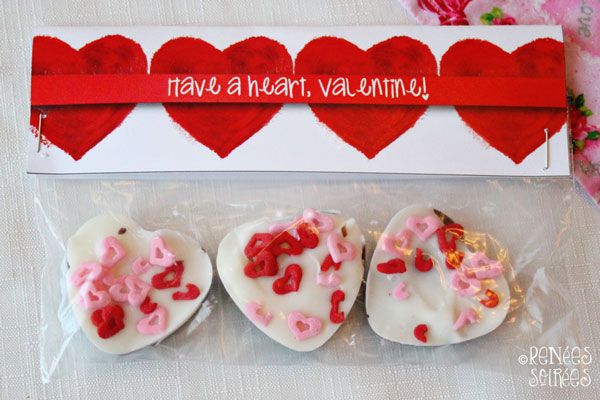 Baggie of heart bark with a heart topper