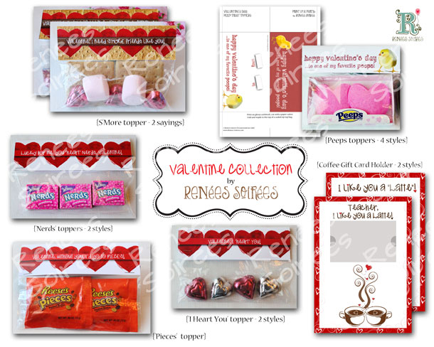 Collection of valentines day treat toppers