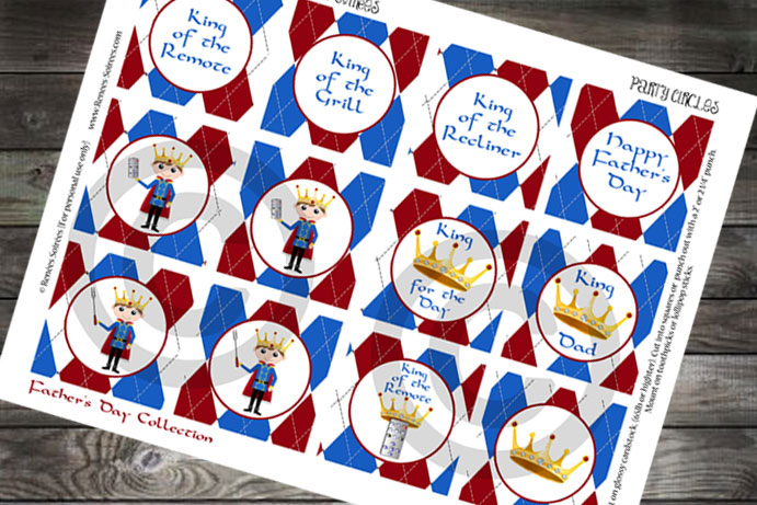 Fathers Day red and blue cupcake toppers