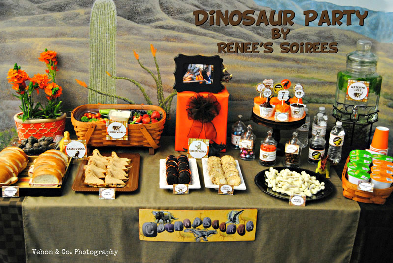 dinosaur party food table by Renees Soirees