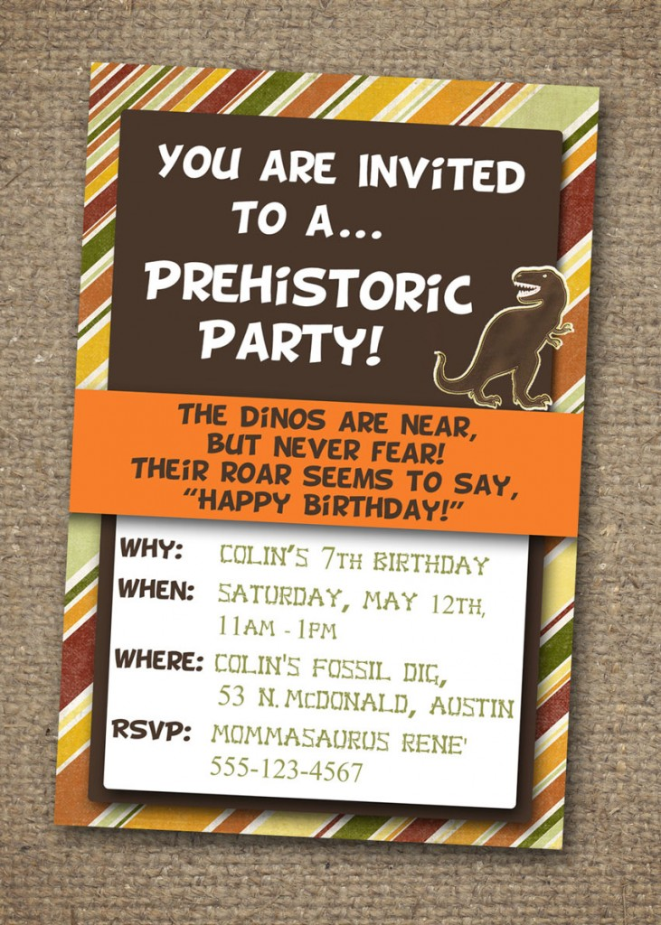 Dinosaur invitation with earth-toned stripes