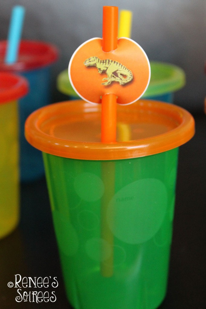 Sip & Toss cups with a dinosaur tag on the straw