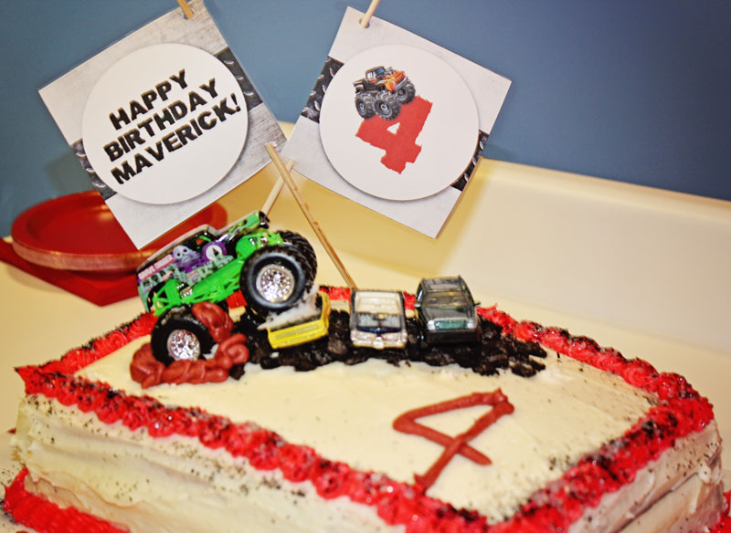 Monster Truck Medallions on birthday cake