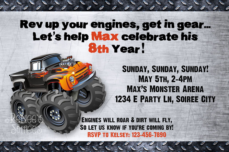 Monster Truck invitation