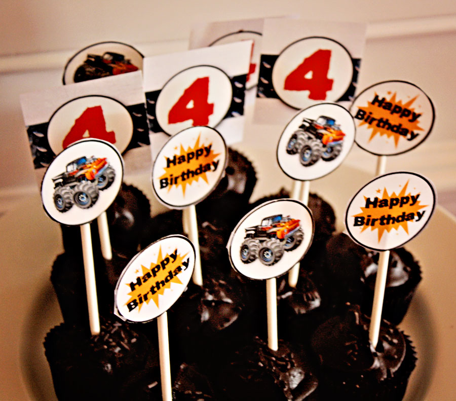 Monster Truck cupcake toppers at party