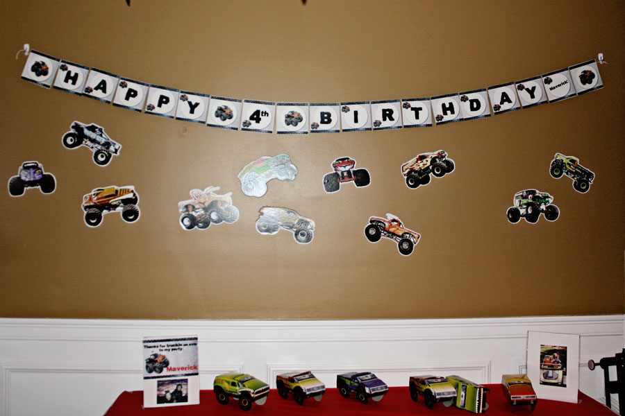 Monster Truck banner at party