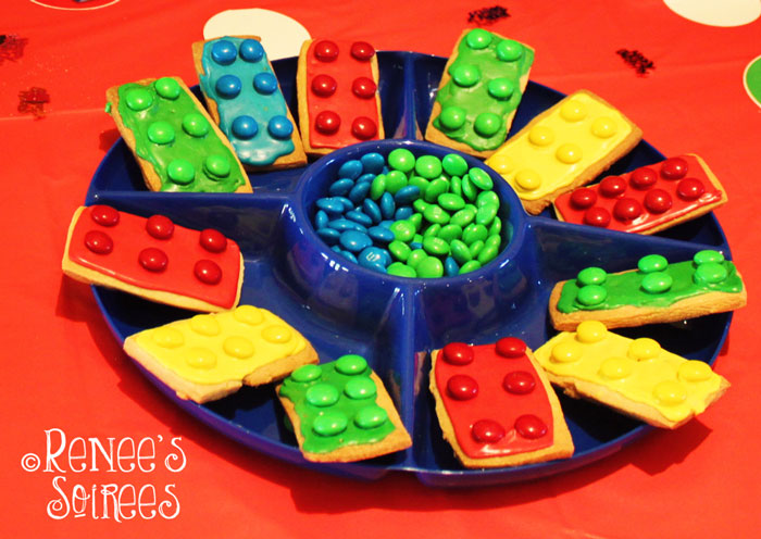 Lego cookies at Lego party by @ReneesSoirees