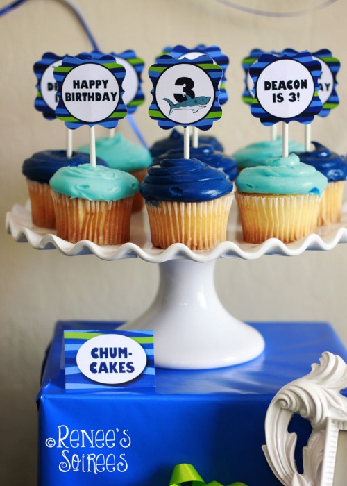 shark cupcake toppers by Renee's Soirees