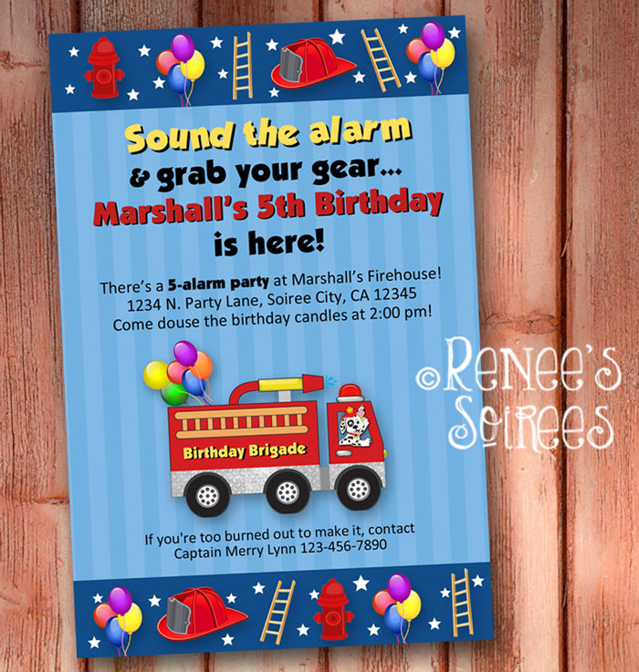 I Created 2 Different Firetruck Designs One Red And Blue Yellow Here Are The Invitations Available In My Shop