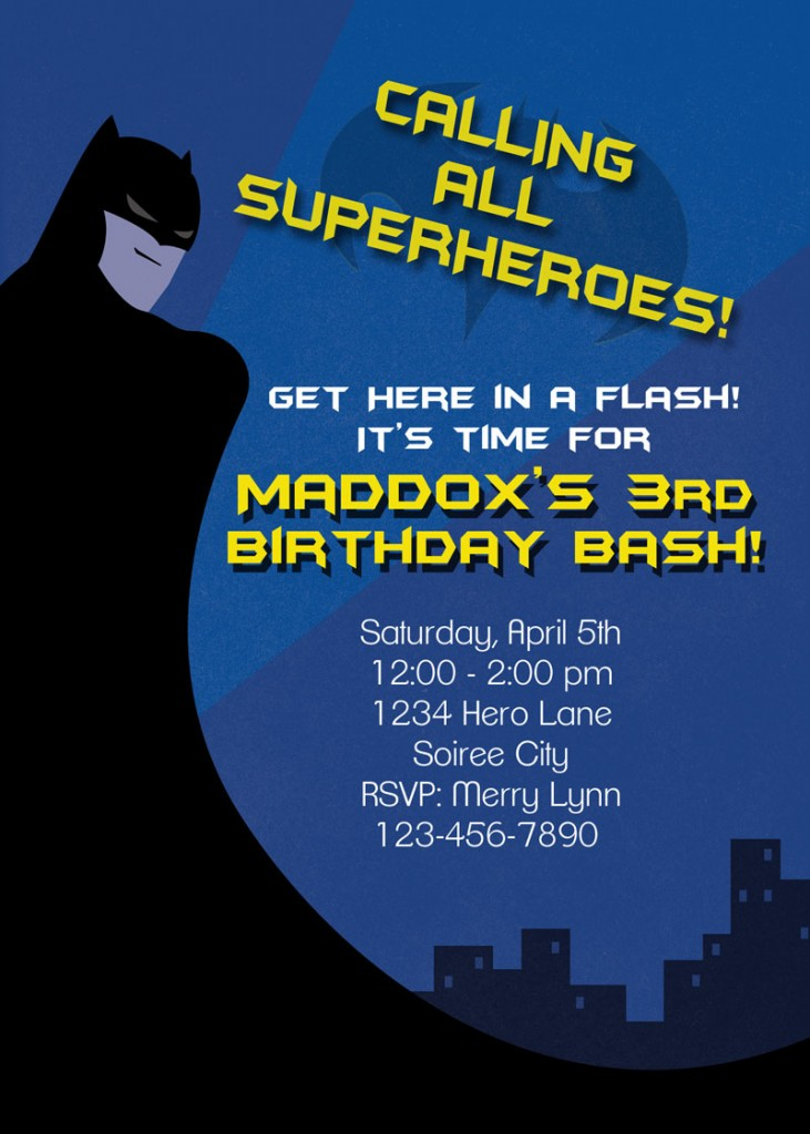 Batman invitation by Renees Soirees