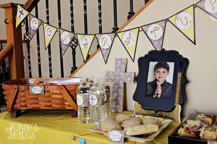 Communion table with Gray & Yellow printable package by Renee's Soirees. Also works for Baptism, Christening, and Confirmation.