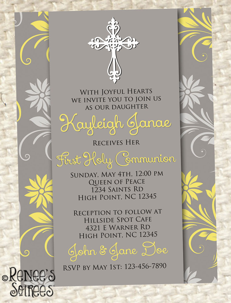 Grey and Yellow invitation... can be used for a Confirmation, First Communion, or Baptism.  By Renee's Soirees.
