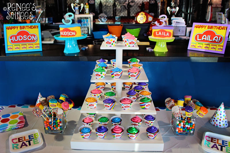 Play-Doh party table as seen on Renees-Soirees.com