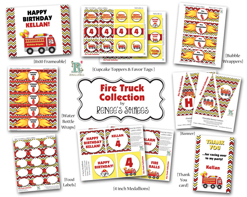 Red and yellow chevron firetruck printables by Reness Soirees