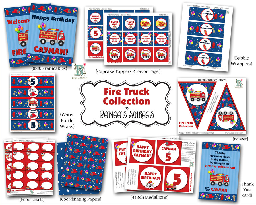 blue and red printable firetruck party collection by Renee's Soirees
